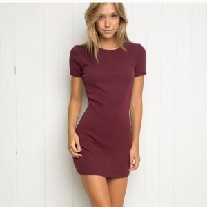 BM Jenelle Burgundy Ribbed Dress